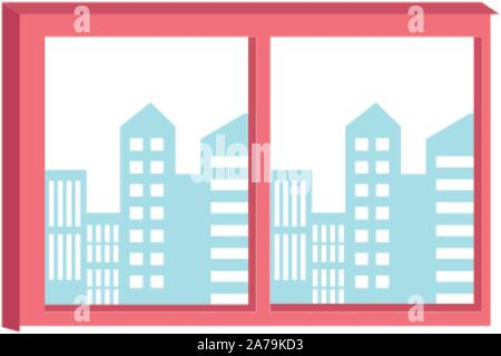 window with city buildings view, flat design - Stock Photo