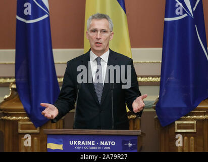 NATO Secretary General, Jens Stoltenberg speaks to the media after the NATO-Ukraine Commission meeting.The North Atlantic Council (NAC) with NATO Secretary General, Jens Stoltenberg visited Ukraine on October 30-31, 2019. - Stock Photo