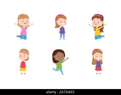 cartoon happy little girls icon set, flat design - Stock Photo