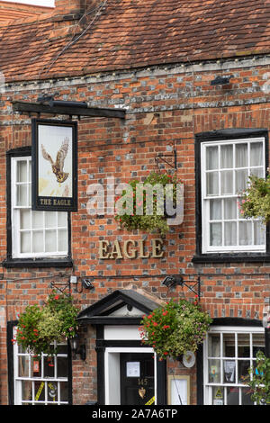 The Eagle pub, a traditional public house and listed building on Amersham Old Town high street, Buckinghamshire, UK - Stock Photo