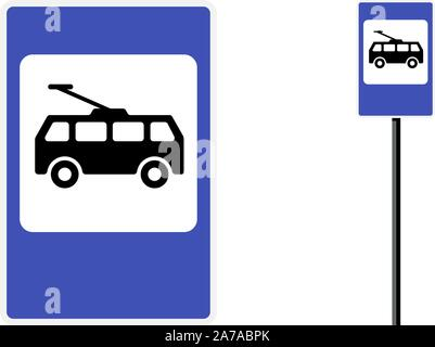 Trolley bus stop post station icon flat design. Blue city road public transport sign set. Electric trolleybus isolated vector symbol illustration on w - Stock Photo