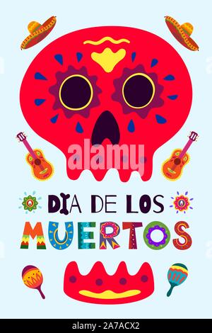 Mexican Day of the Dead Dia de Los Muertos poster. National festival greeting card with skeleton hand drawn lettering flowers skull on light backgroun - Stock Photo