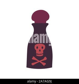 Magic cartoon bottle of toxic potion. Vector illustrations of toxic liquid - Stock Photo