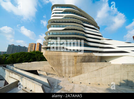 modern architecture of PolyU School of Design Jockey Club Innovation Tower at Hong Kong Polytechnic University, Hong Kong. Architect Zaha Hadid - Stock Photo