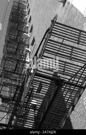 A fire escape emergency stairs on the exterior of an apartment building in hyde park chicago il - Stock Photo