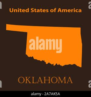 Orange Oklahoma map - vector illustration. Simple flat map of Oklahoma on a brown background. - Stock Photo