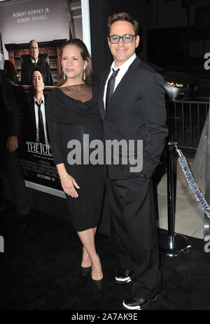 LOS ANGELES, CA - OCTOBER 1, 2014: Robert Downey Jr & wife Susan Downey at the Los Angeles premiere of their movie 'The Judge' at the Samuel Goldwyn Theatre, Beverly Hills.© 2014 Paul Smith / Featureflash - Stock Photo