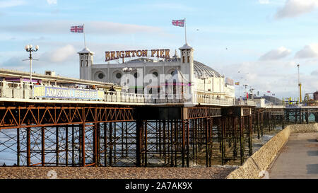 BRIGHTON, ENGLAND- OCTOBER, 4 2017: a low angle view of brighton pier in southern england