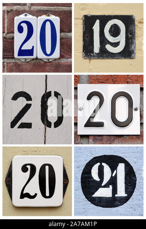 A collage of numbers 2019, 2020 and 2021 composed of house numbers. - Stock Photo