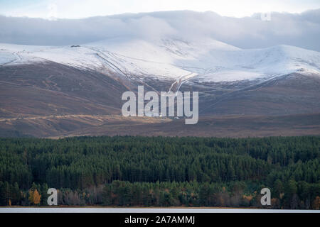 A view from Loch Morlich of the Cairngorm Mountain Ski Centre near Aviemore, Badenoch and Strathspey, Scotland - Stock Photo