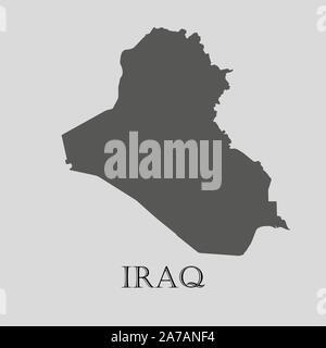 Gray Iraq map on light grey background. Gray Iraq map - vector illustration. - Stock Photo