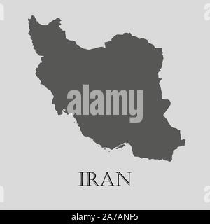 Gray Iran map on light grey background. Gray Iran map - vector illustration. - Stock Photo