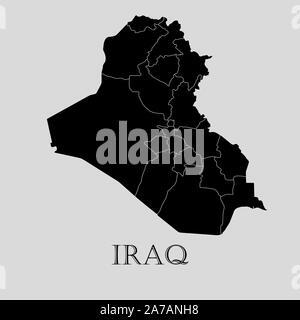 Black Iraq map on light grey background. Black Iraq map - vector illustration. - Stock Photo