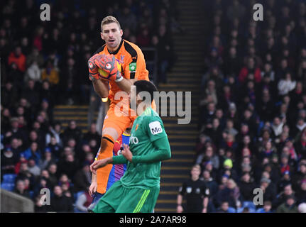 LONDON, ENGLAND - JANUARY 12, 2019: Vicente Guaita of Palace pictured during the 2018/19 Premier League game between Crystal Palace and Watford at Selhurst Park. - Stock Photo