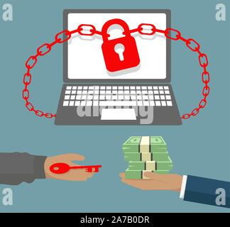 Ransomware virus locked business computer with Hand holding banknotes and key to padlock - scam concept - Stock Photo