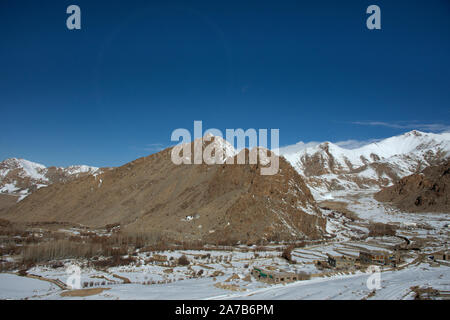 View landscape of Leh Ladakh Village from Khardung La Road in Himalaya mountain between go Nubra valley and Pangong lake in Jammu and Kashmir, India - Stock Photo