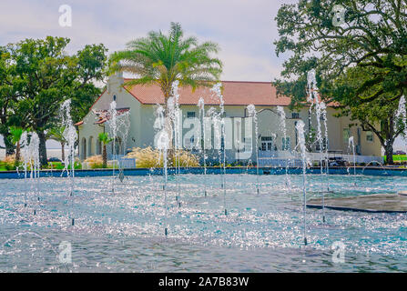 Water sprays at the Centennial Plaza fountain, Oct. 22, 2019, in Gulfport, Mississippi. - Stock Photo