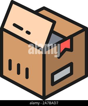 Open box, parcel delivery flat color icon. - Stock Photo