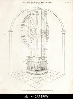 Ramsden's circle, a five-foot high vertical circle finished in 1789 by the English scientific instrument maker Jesse Ramsden. Copperplate engraving by Wilson Lowry after a drawing by J. Farey from Abraham Rees' Cyclopedia or Universal Dictionary of Arts, Sciences and Literature, Longman, Hurst, Rees, Orme and Brown, London, 1820. - Stock Photo