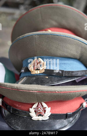 Group of Russian military hats . Cold war - Stock Photo