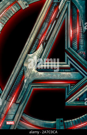 Avengers: Age of Ultron (2015) directed by Joss Whedon and starring Robert Downey Jr., Chris Evans, Mark Ruffalo, Chris Hemsworth, and Scarlett Johansson. A sentient global defence program called Ultron decides humans pose the greatest to Earth. - Stock Photo