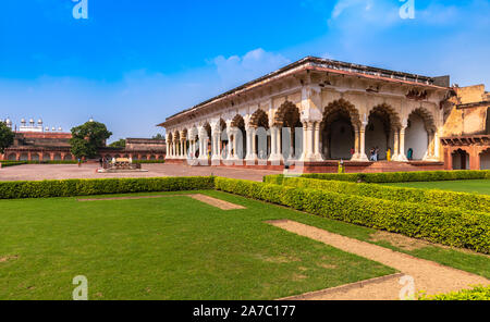 Diwan-I-Am or Hall of Public Audience in Agra Fort was the place where the emperor addressed the general public as well as the nobility. - Stock Photo
