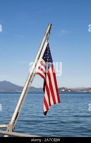 The National flag of the USA on a boat in San Francisco Bay, San Francisco, California, United States of America. USA - Stock Photo