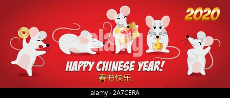 Year of the Rat 2020, Happy New Year on January 25th, Red banner with dancing rats and the inscription in Chinese - Happy Chinese New Year, vector - Stock Photo