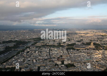 Paris skyline panorama from Eiffel Tower in the evening, Paris, France - Stock Photo