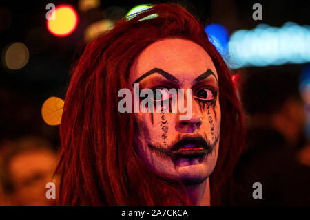 Los Angeles, United States. 31st Oct, 2019. An attendee dressed in a costume attends the Halloween Carnival in West Hollywood, California.The event takes place along the world-famous Santa Monica Boulevard and is known as the world's largest Halloween party and attracts an estimated 500,000 people. Credit: SOPA Images Limited/Alamy Live News - Stock Photo
