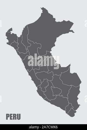 Peru regions map - Stock Photo