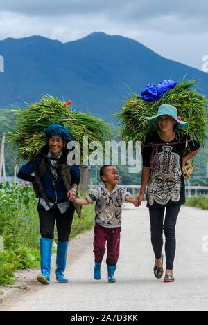 A family of farmers walks back home after a day of work, Lige, Lugu Lake, Yunnan, China - Stock Photo