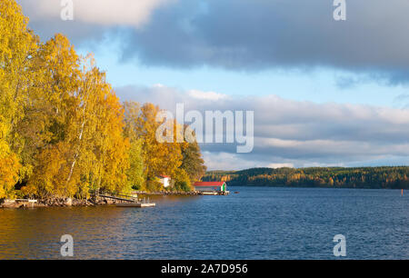 Shore of The Saimaa Lake in autumn in Puumala Municipality. Southern Savonia (Savo) Region. Finland - Stock Photo