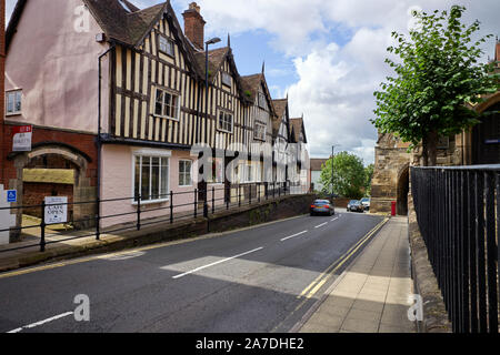 Older buildings and a narrow part of the road in the centre of Warwick - Stock Photo