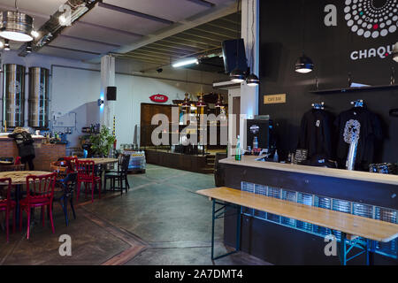 Ægisgarður, craft beer factory in Reykjavik, Icleand, view over general bar area - Stock Photo