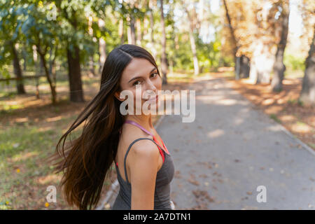 Happy woman going to run in the morning - Stock Photo