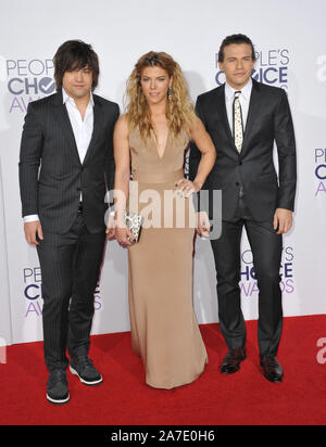 LOS ANGELES, CA - JANUARY 7, 2015: The Band Perry - Reid Perry, Kimberly Perry & Neil Perry - at the 2015 People's Choice  Awards at the Nokia Theatre L.A. Live downtown Los Angeles. © 2015 Paul Smith / Featureflash - Stock Photo
