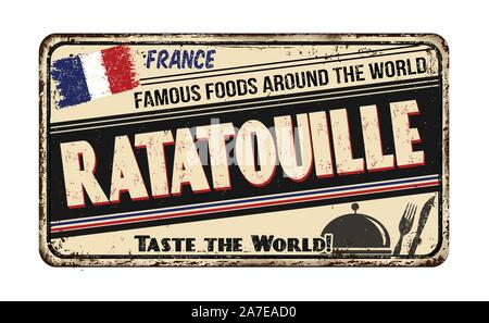 Famous foods around the world. Ratatouille vintage rusty metal sign on a white background, vector illustration - Stock Photo