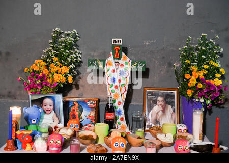 Family altar during Hanal Pixan which is the celebration of the Day of the Dead that originated from Mayan culture. Merida, Yucatan, Mexico - Stock Photo