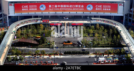 Beijing, China. 1st Nov, 2019. Aerial photo taken on Nov. 1, 2019 shows a view of the National Exhibition and Convention Center (Shanghai) where the second China International Import Expo (CIIE) is to be held, in Shanghai, east China. Credit: Fan Jun/Xinhua/Alamy Live News - Stock Photo