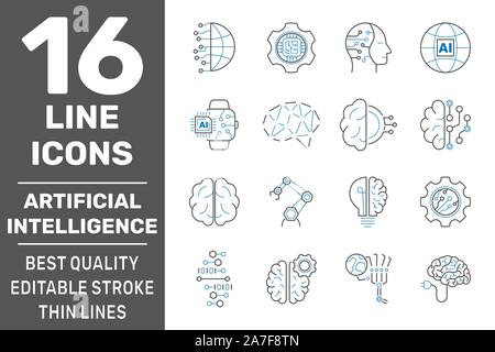 Iot, industry 4.0, artificial intelligence technology concept icons set. Smart factory, automotive manufacturing, AI, industrial internet of things - Stock Photo