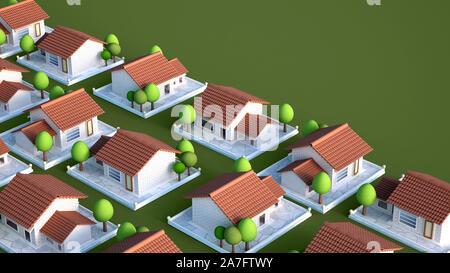Cottage village. 3d rendering 3d illustration - Stock Photo
