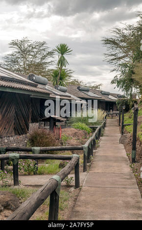 Lodge for tourists in the African savannah - Stock Photo