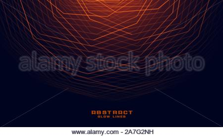 glowing abstract geometric lines in curve style - Stock Photo