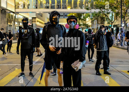 Hong Kong, China. 2nd Nov, 2019. Protesters are seen in Central District Hong Kong. The anti-government protests in Hong Kong continue to the 22nd straight weekend. Protesters continue to call for Hong Kong's Chief Executive Carrie Lam to meet their remaining demands. Credit: Keith Tsuji/ZUMA Wire/Alamy Live News - Stock Photo