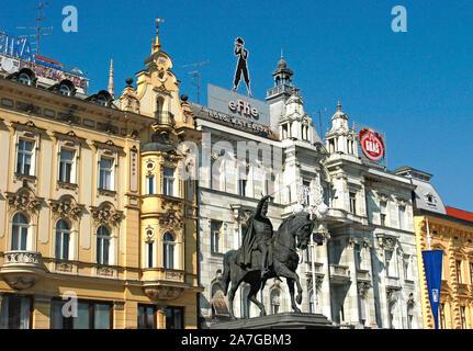 Ban Josip Jelacic statue on the central Square, Zagreb, Croatia - Stock Photo
