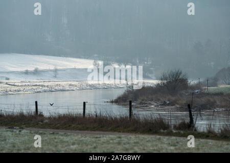 Weser River near Oberweser, Upper Weser Valley,  Weser Uplands, Weserbergland, Hesse, Germany - Stock Photo