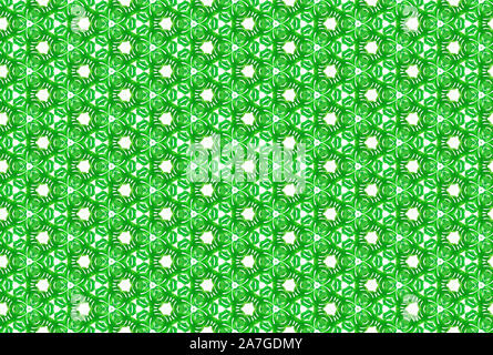 Watercolor seamless geometric pattern. In green and white colors. - Stock Photo