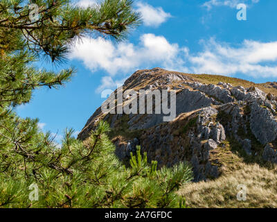 Looking up to a hill near Llanmadoc from Whiteford Burrows National Nature Reserve. AONB. Llanmadoc, North Gower, Wales, UK. - Stock Photo