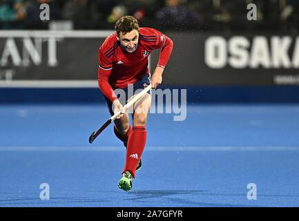 Stratford. United Kingdom. 02 November 2019. Harry Martin (Great Britain). Great Britain v Malaysia. FIH Mens Olympic hockey qualifier. Lee Valley hockey and tennis centre. Stratford. London. United Kingdom. Credit Garry Bowden/Sport in Pictures/Alamy Live News. - Stock Photo